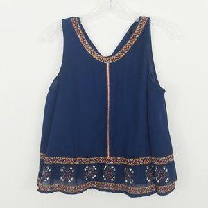 Zara Navy Embroidered Babydoll Crop Size Medium